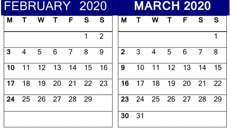 Blank Calendar February March 2020