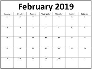 Blank Calendar For February 2019