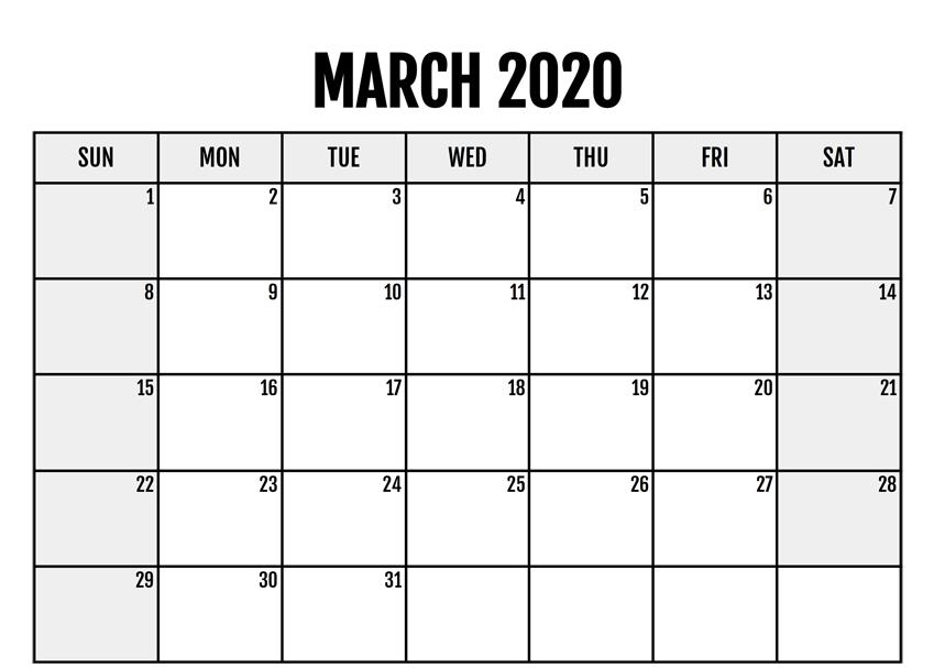 Blank Calendar March 2020 Printable