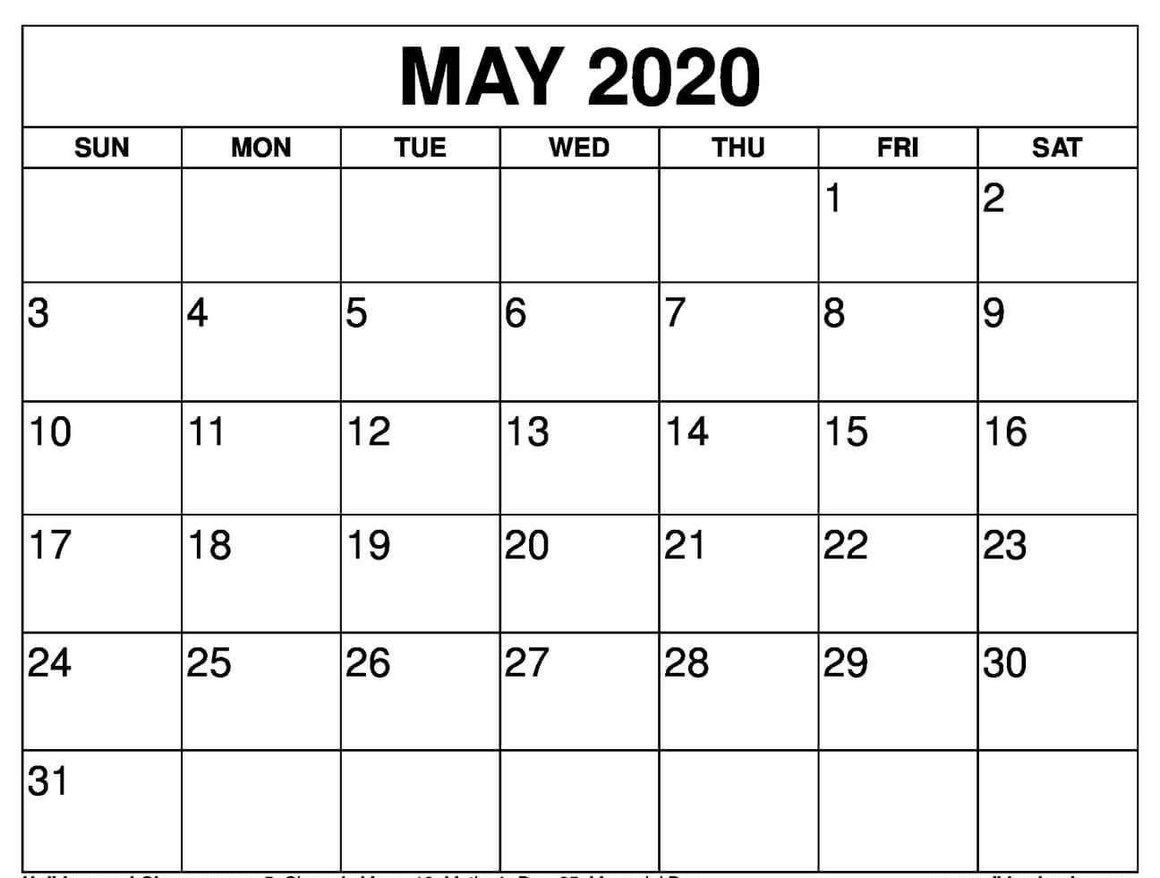 Blank Calendar May 2020