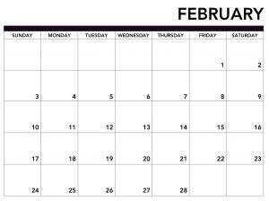 Blank Calendar Template February 2019