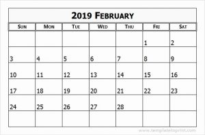 Blank Calendar Template For February 2019