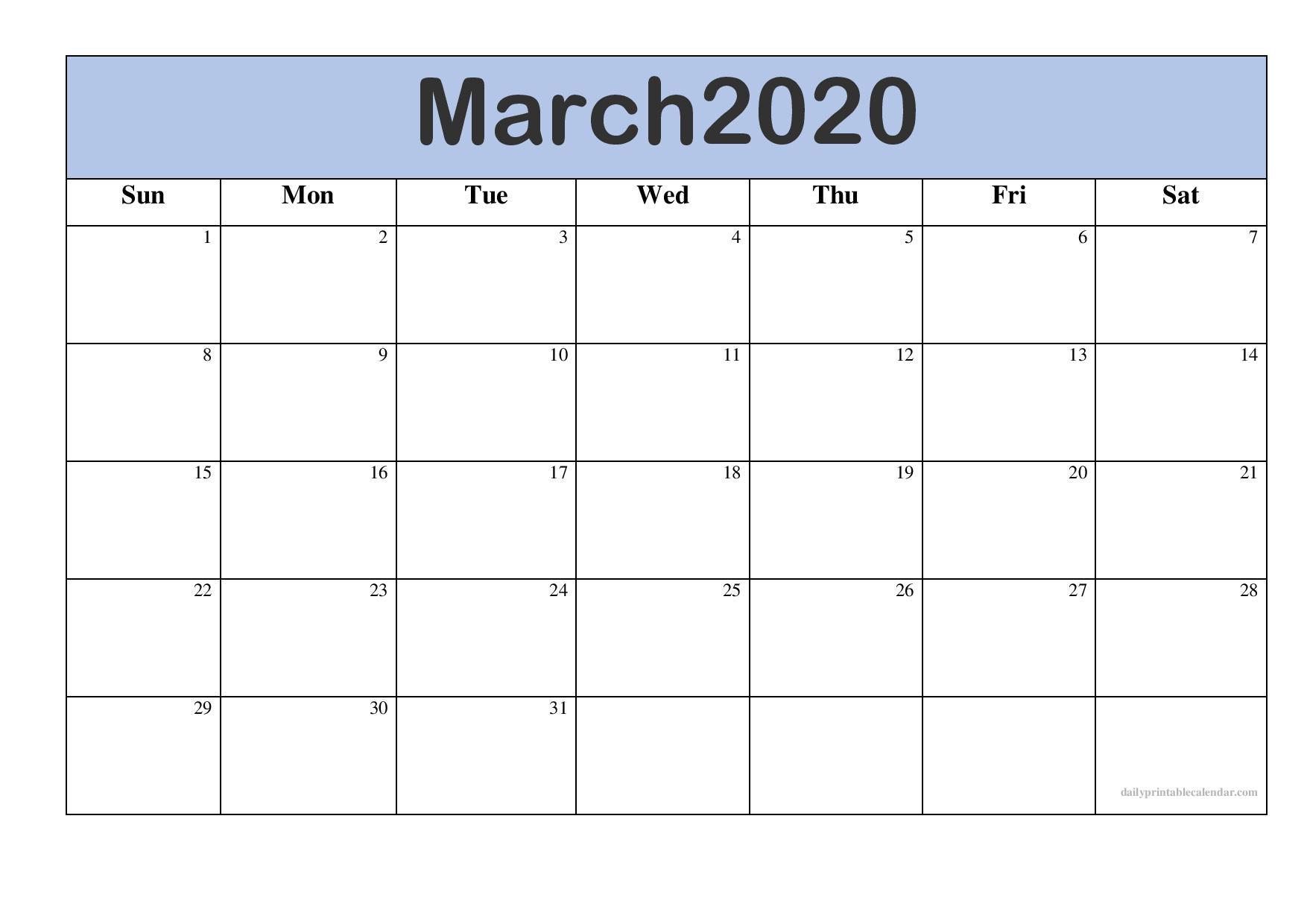 Blank Calendar Template March 2020