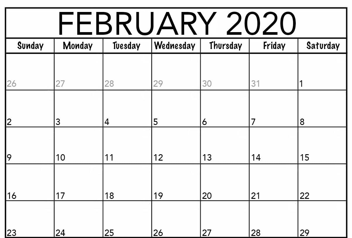 Blank Feb 2020 Calendar Printable