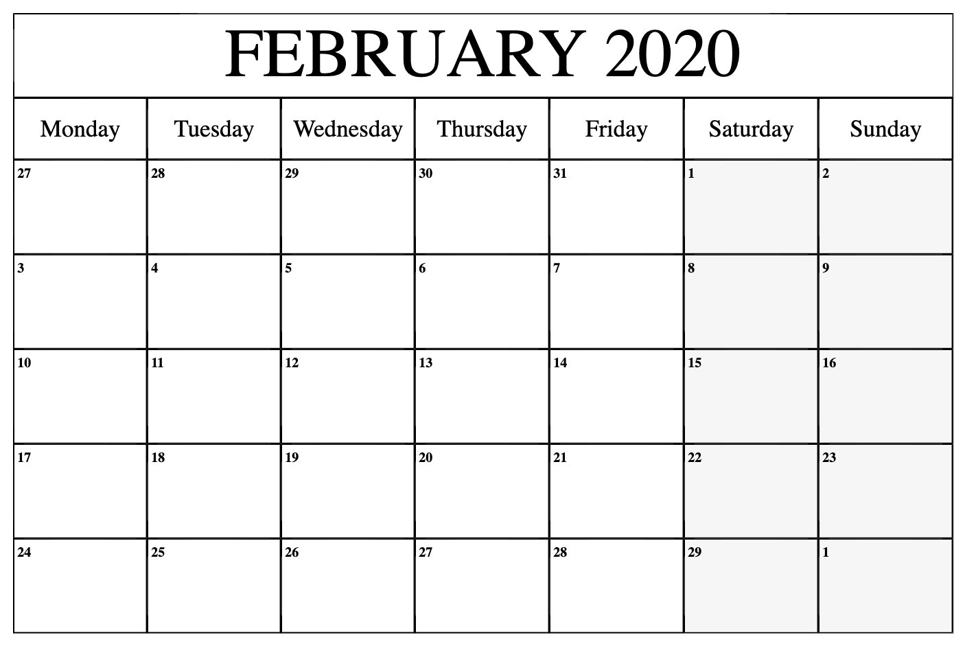 Blank Feb 2020 Calendar