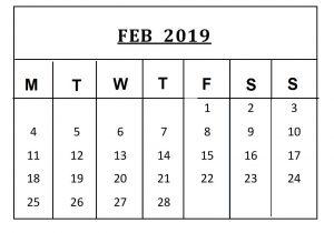 Blank February 2019 Calendar Editable
