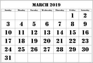 Blank March 2019 Calendar Template