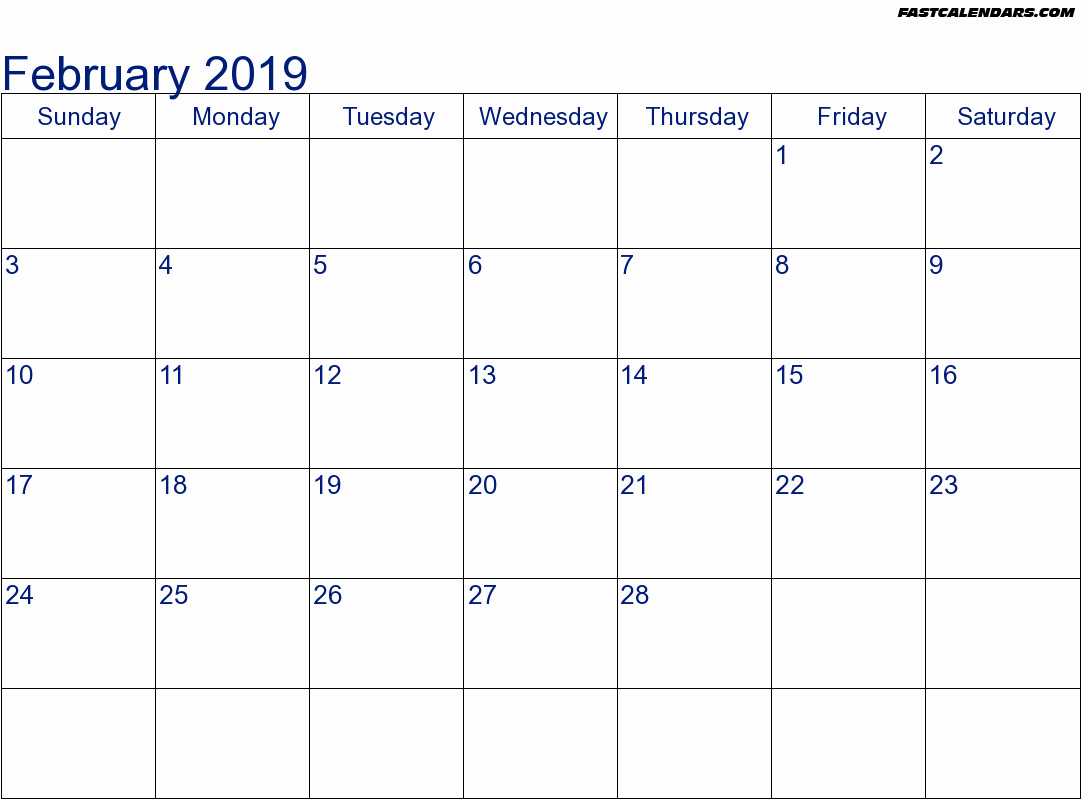 Calendar Feb 2019