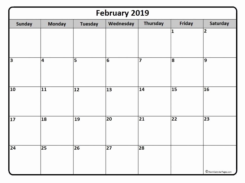Calendar February 2019 Excel