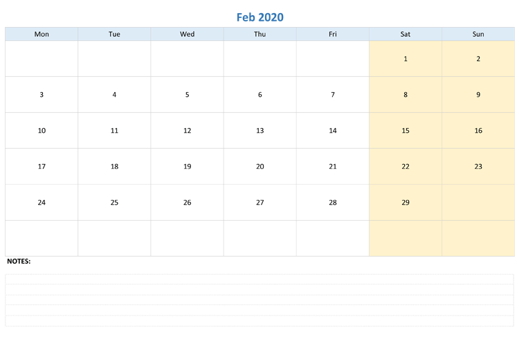 Calendar February 2020 Printable Excel