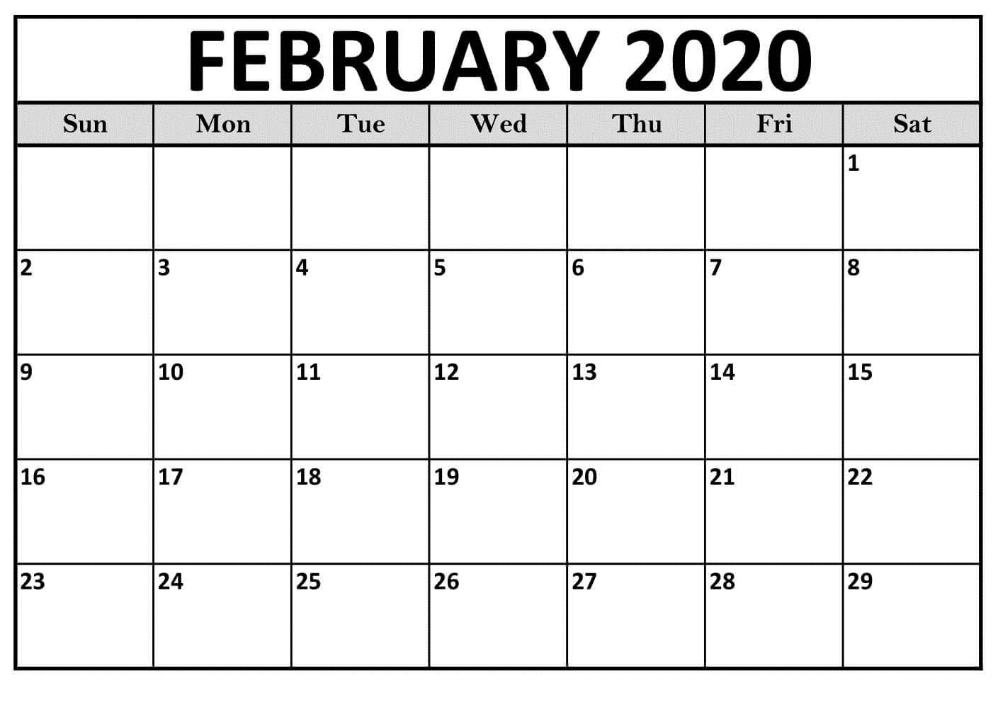 Calendar February 2020 Printable PDF