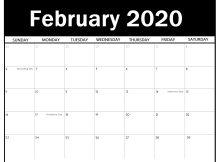 Calendar February 2020 Printable Word