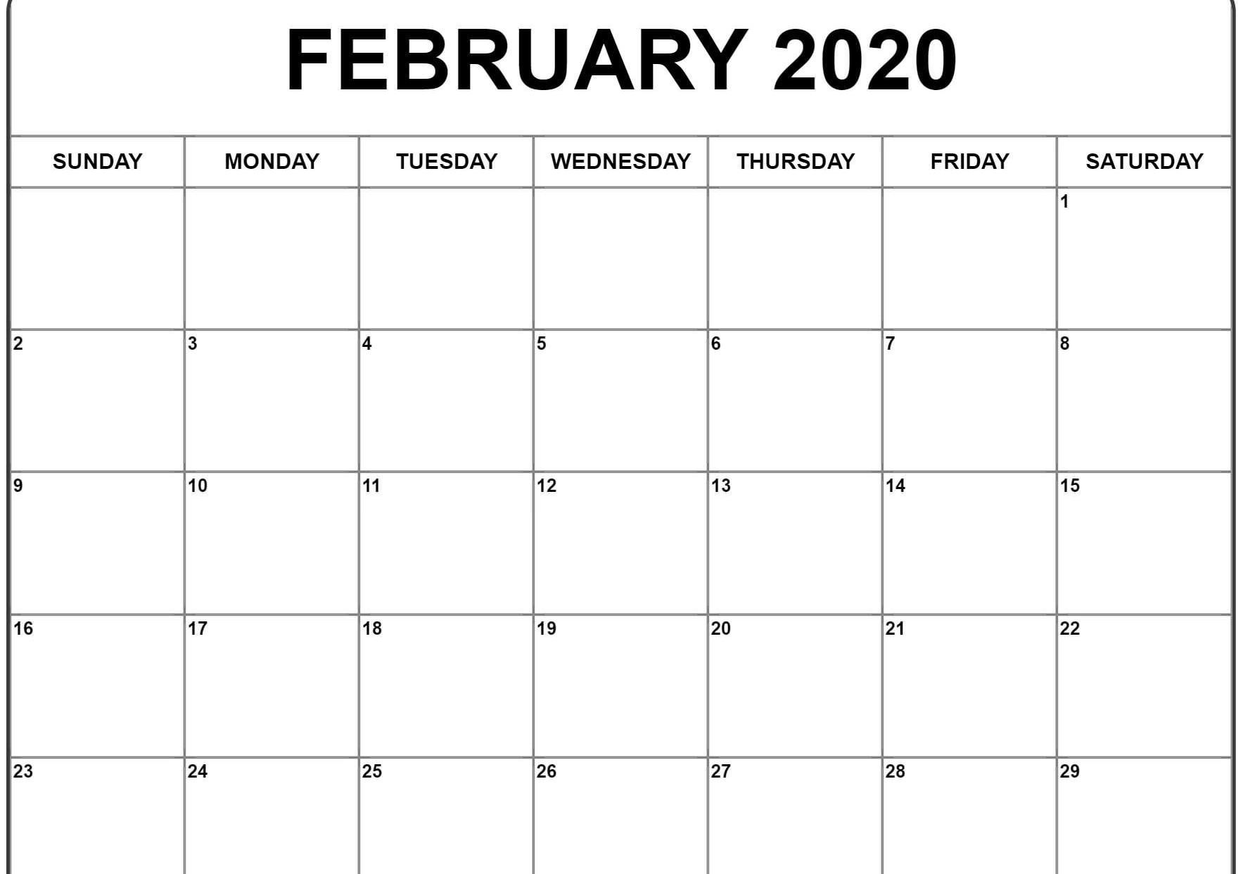 Calendar February 2020 Printable