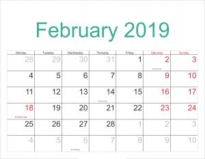 Calendar For February 2019 With Holidays