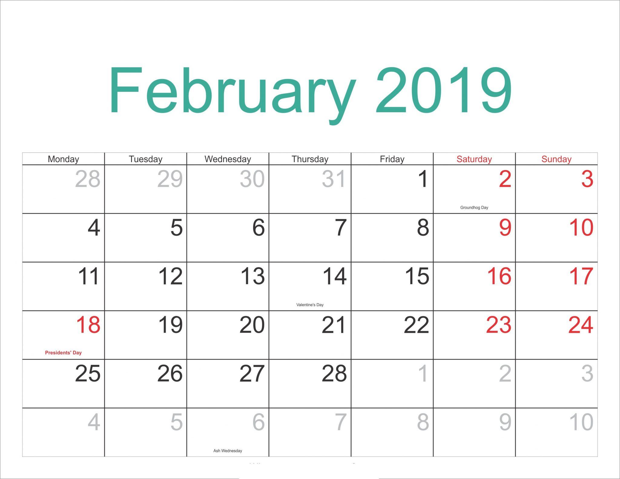 Calendar For February 2019 With Holidays