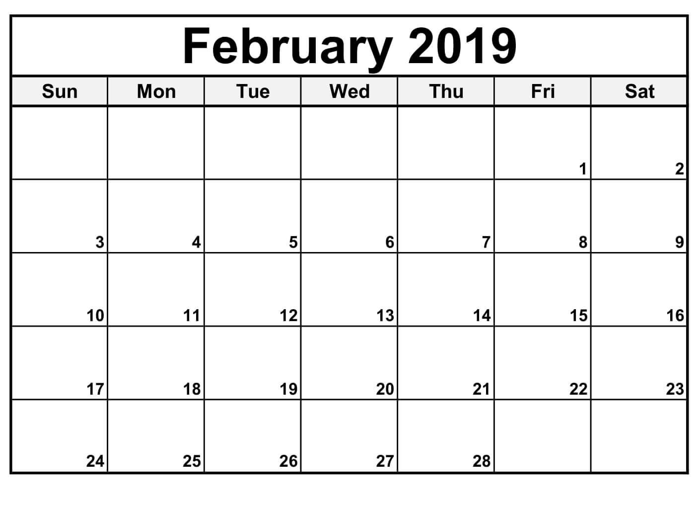 Calendar To Print February 2019 Calendar For February 2019   Free Printable Calendar, Templates