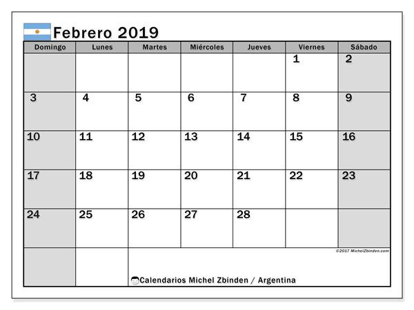 Calendario Febrero 2019 Argentina