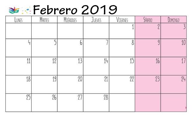 Calendario Febrero 2019 Para Imprimir Chile