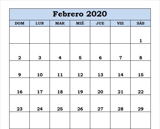Calendario Febrero 2020 Gratis