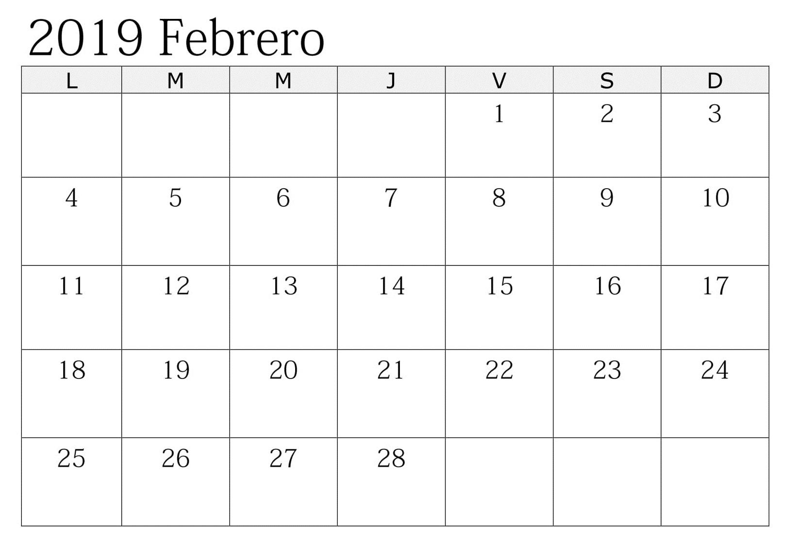 Calendario Mensual Febrero 2019