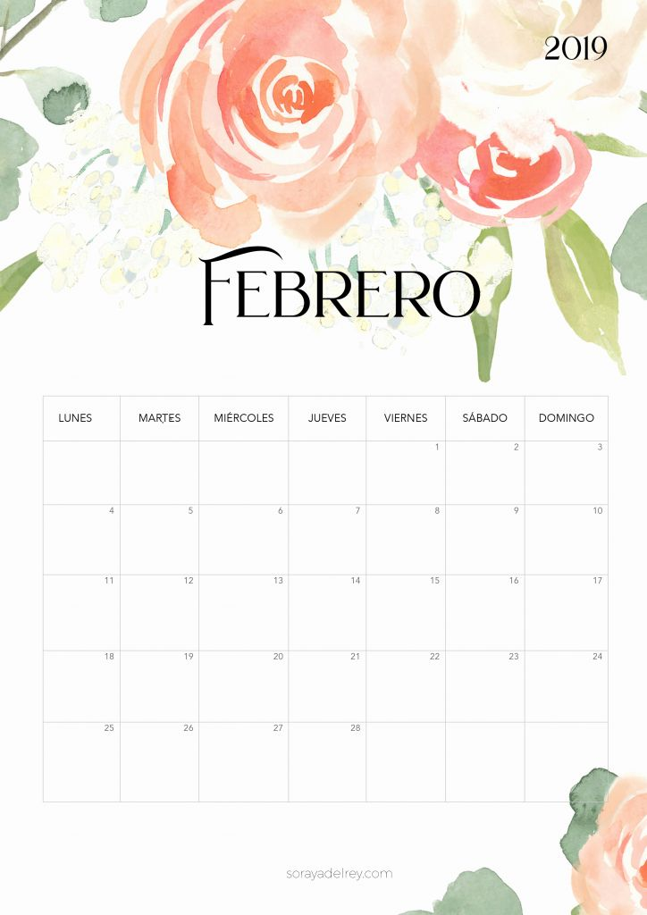 Calendario Mes Febrero 2019 Para Imprimir