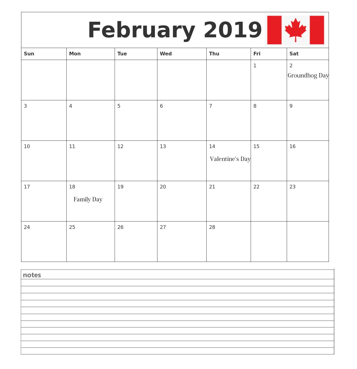 Canada February 2019 Calendar