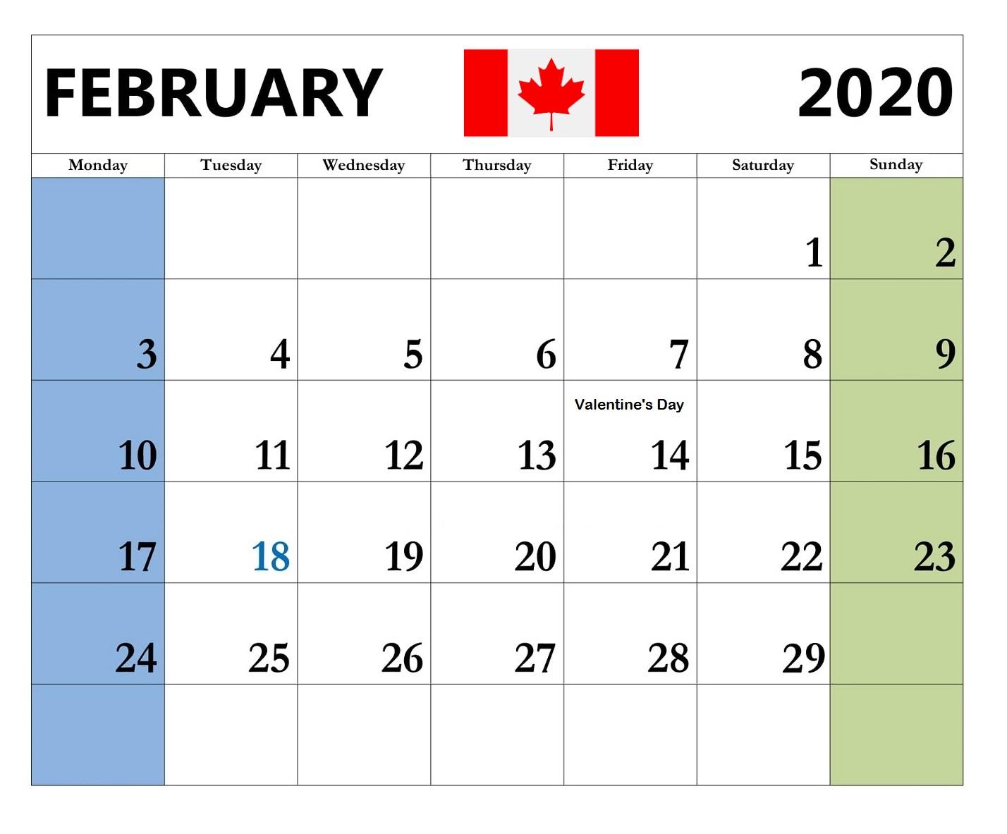 Canada February 2020 Federal Holidays Calendar