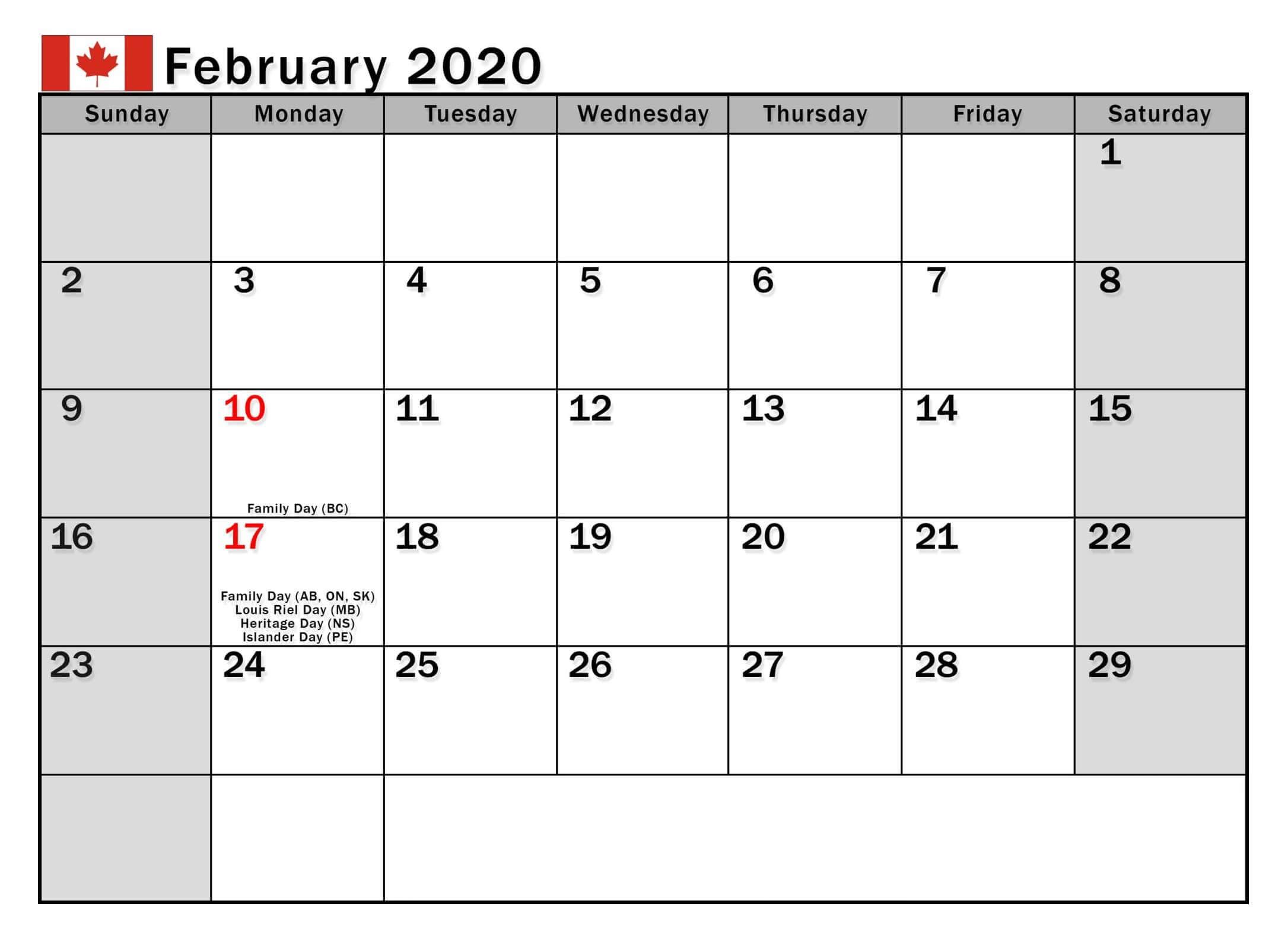 Canada Holidays Calendar February 2020