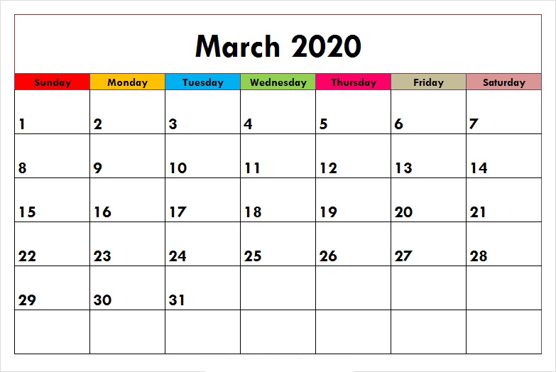 Colorful Calendar March 2020
