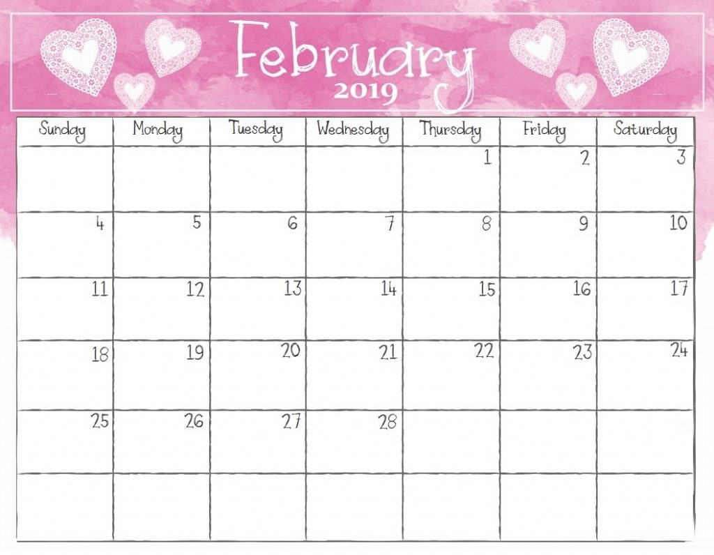 Free Printable February 2019 Calendar With Holidays Cute Calendar For February 2019   Free Printable Calendar