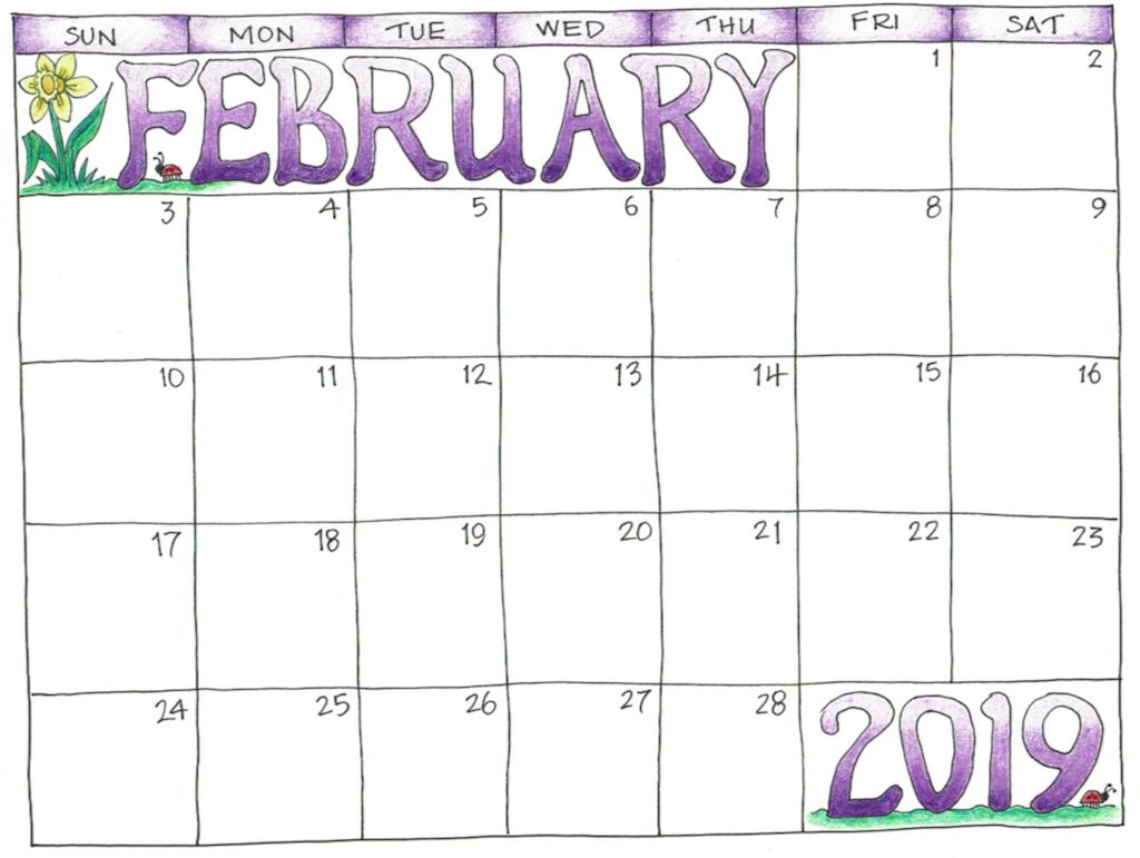 February 2019 Calendar For Kids Cute Feb 2019 Calendar for Kids   Free Printable Calendar