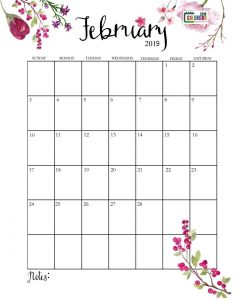 Cute February 2019 Calendar