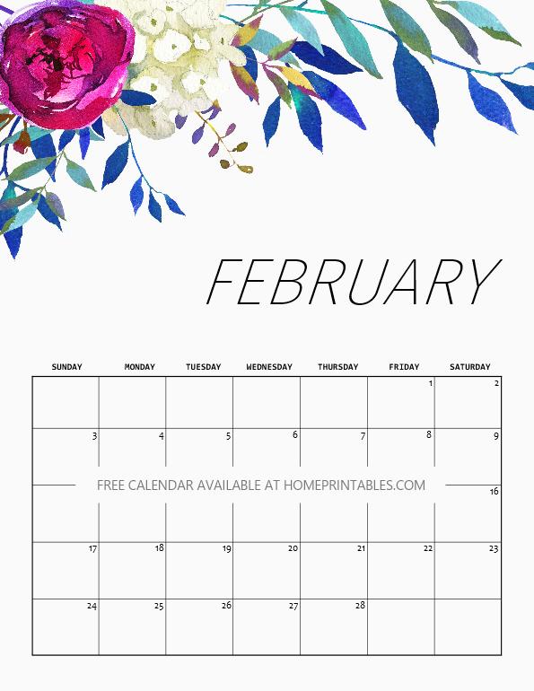 Cute February 2019 Calendar Floral Design