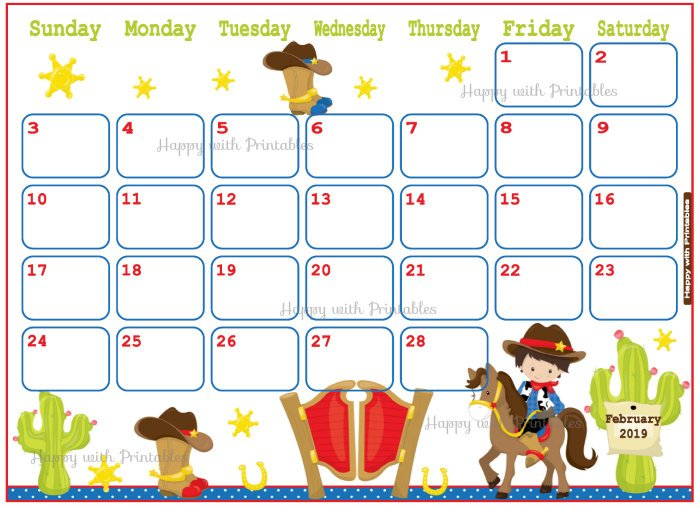Cute February 2019 Calendar For Kids