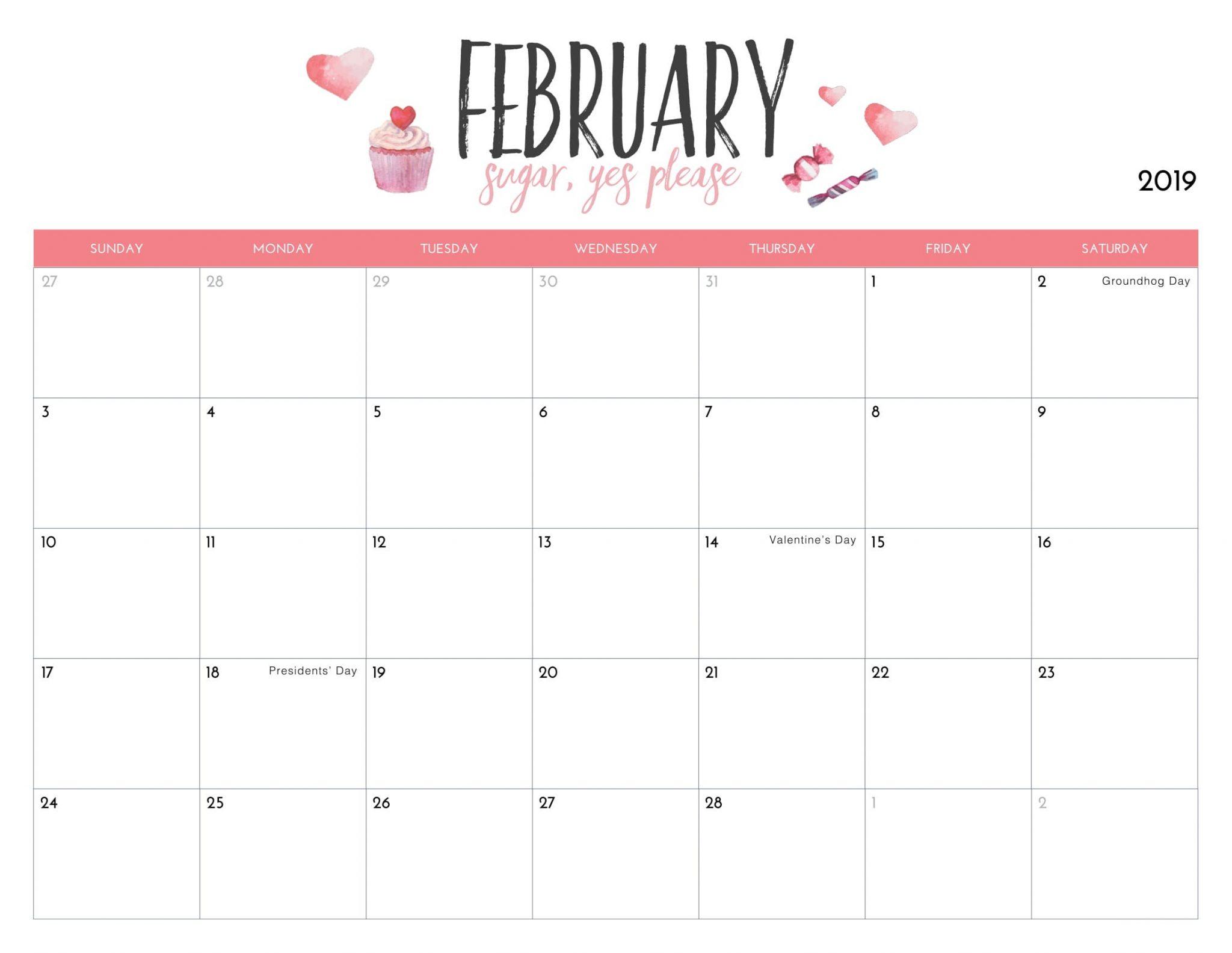 Cute February 2019 Calendar Printable