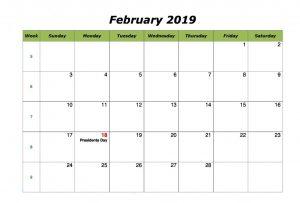Cute February 2019 Calendar With Holidays