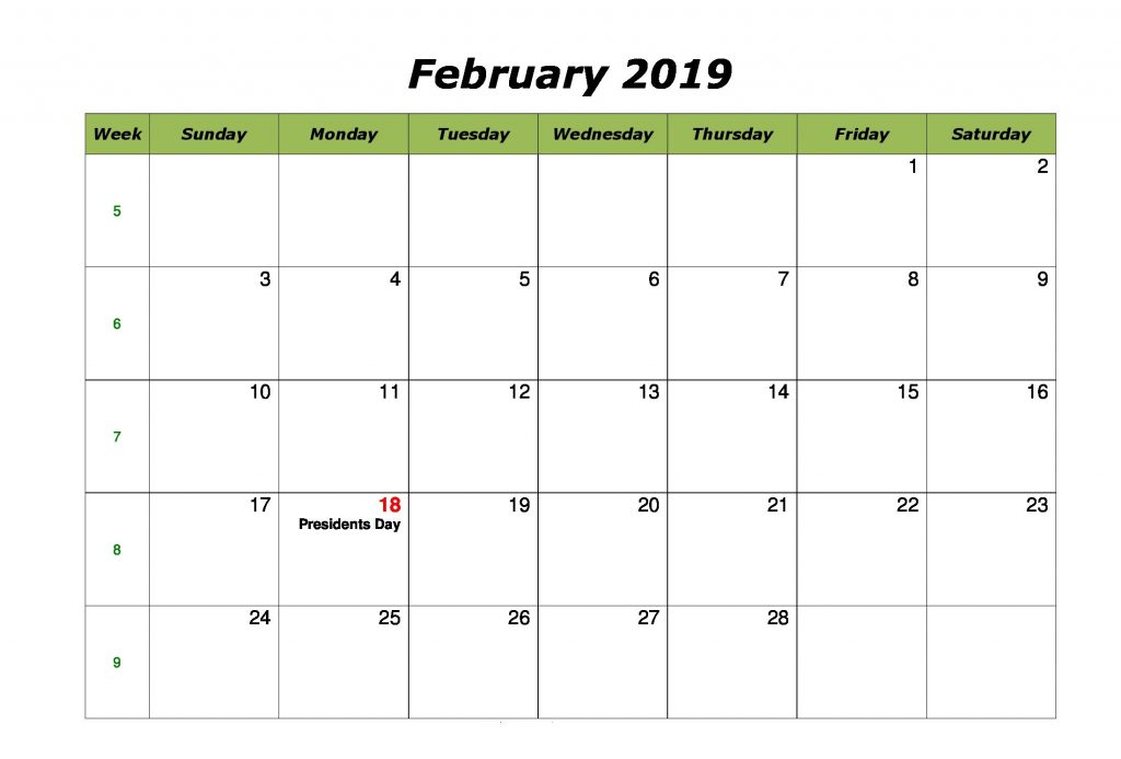 Cute February 2019 Calendar With Holidays