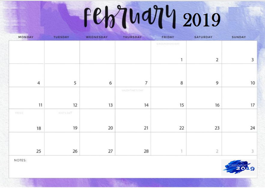 Cute February 2019 Desk Calendar Template