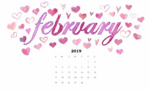 Cute February 2019 Desktop Calendar Wallpaper