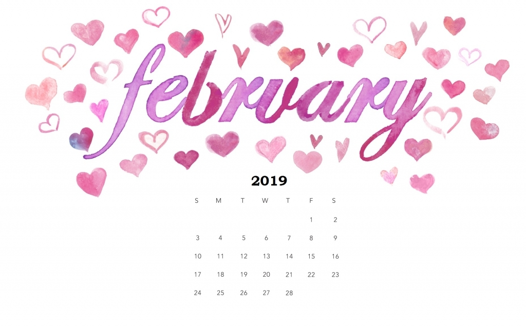 2019 February Desktop Calendar Wallpapers Cute February 2019 Desktop Calendar Wallpaper   Free Printable