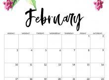 Cute February 2019 Floral Calendar