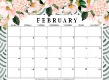 Cute February 2020 Floral Calendar
