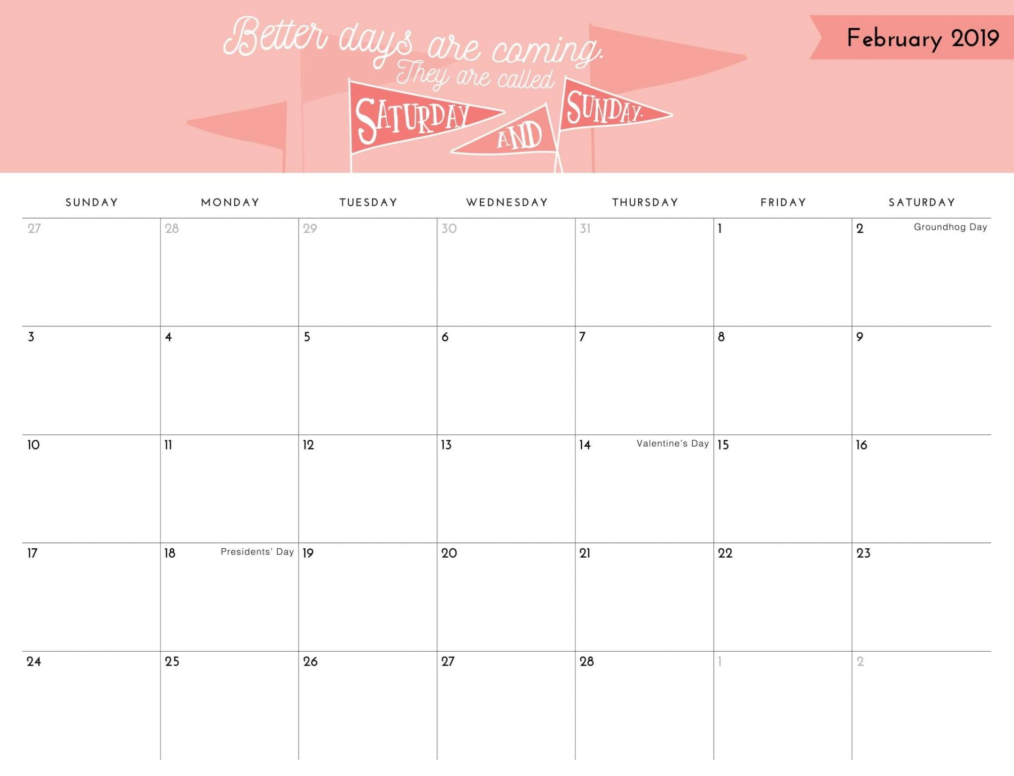 Cute February Calendar 2019