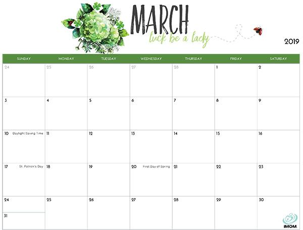 Cute March 2019 Printable Calendar