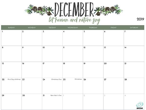 December Printable Calendar 2019