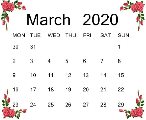 Decorative March 2020 Calendar Template