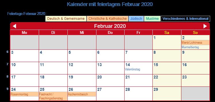 Deutschland Kalender Februar 2020