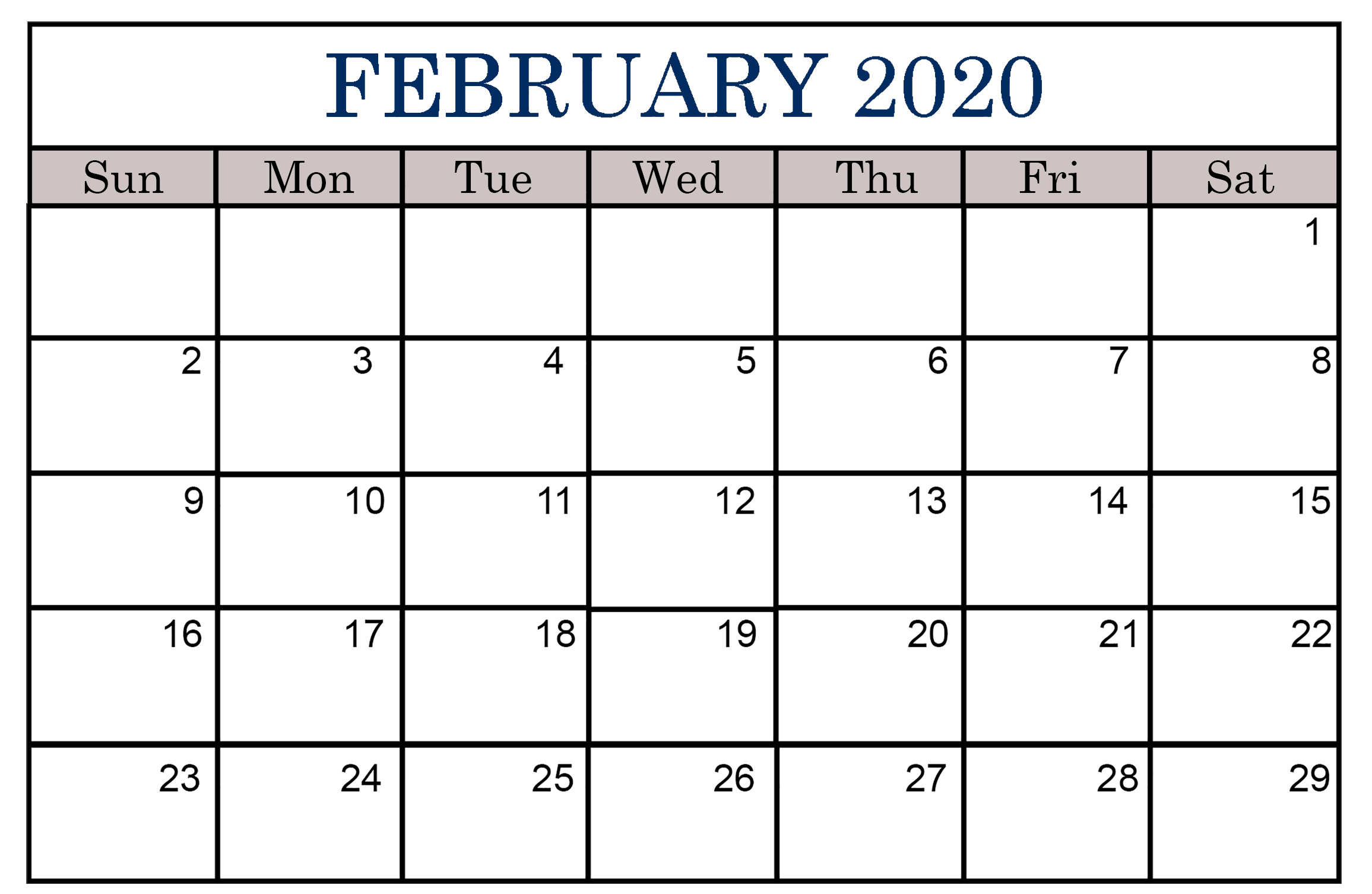 Editable Blank Template February 2020