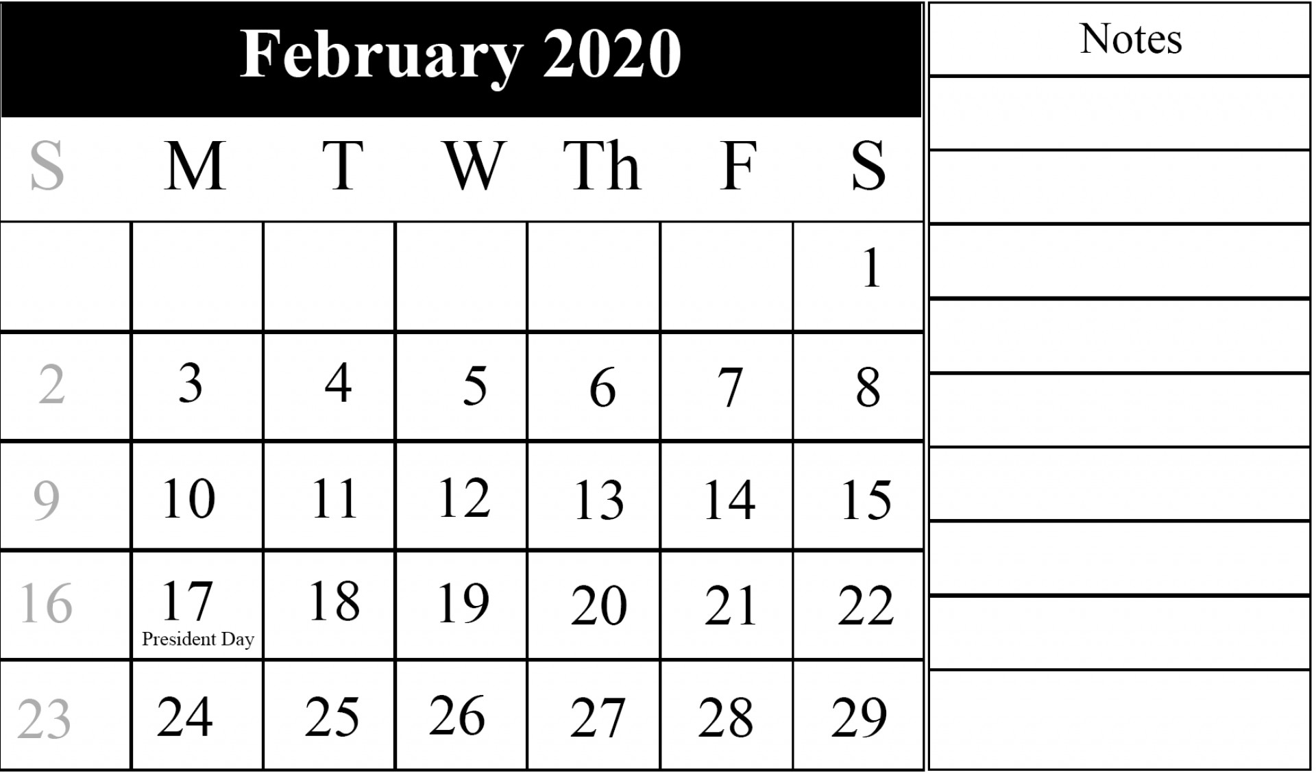 Editable Feb 2020 Calendar Word