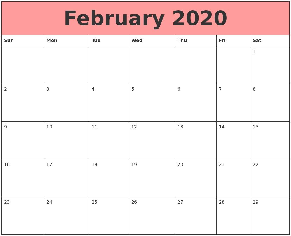 Editable Feb 2020 Calendar